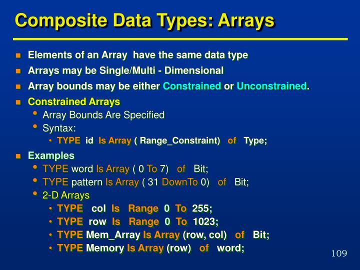 Composite Data Types: Arrays
