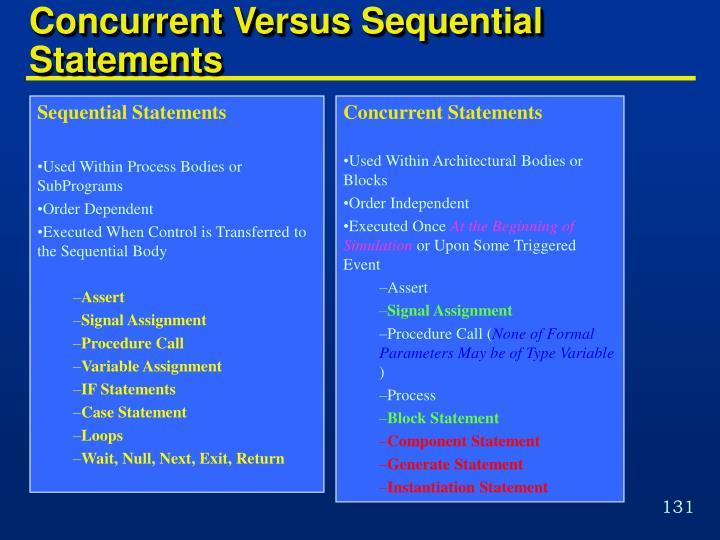 Concurrent Versus Sequential Statements