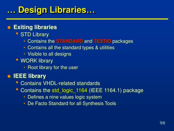 … Design Libraries…