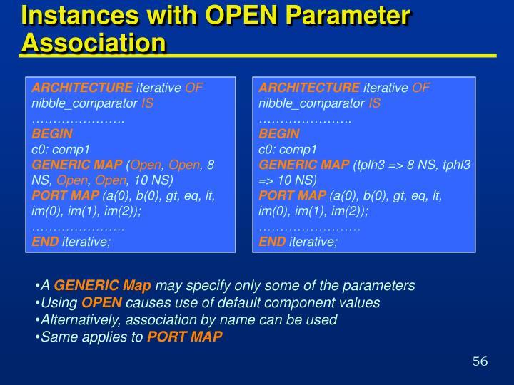 Instances with OPEN Parameter Association