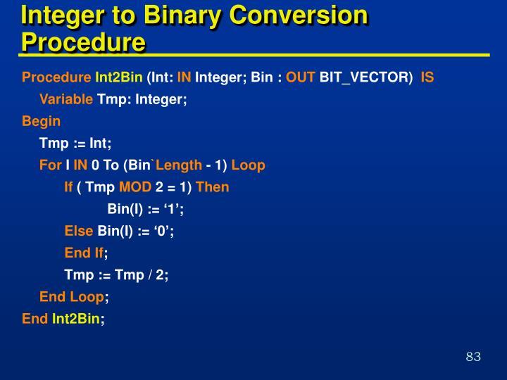 Integer to Binary Conversion Procedure