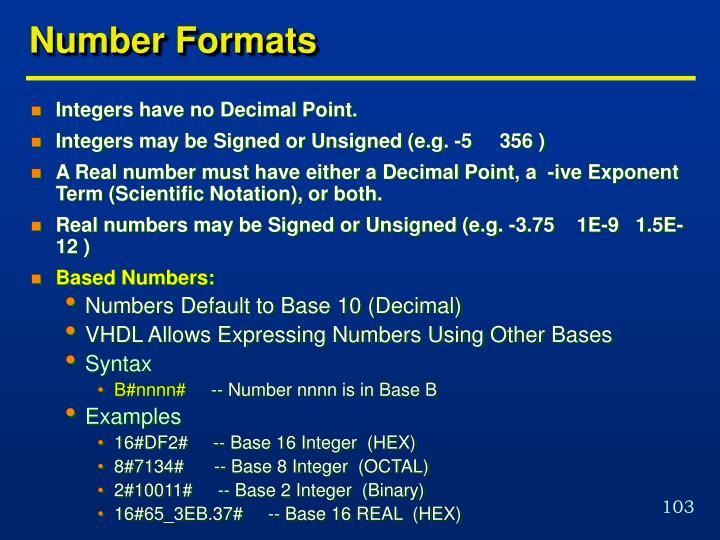 Number Formats