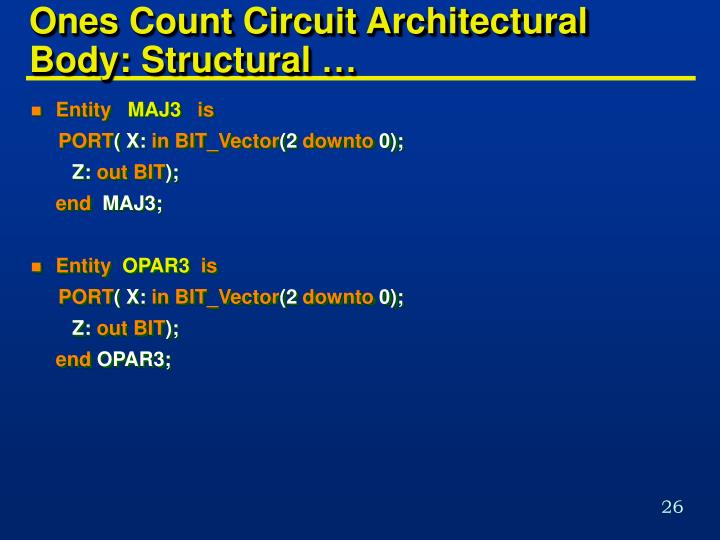 Ones Count Circuit Architectural   Body: Structural …
