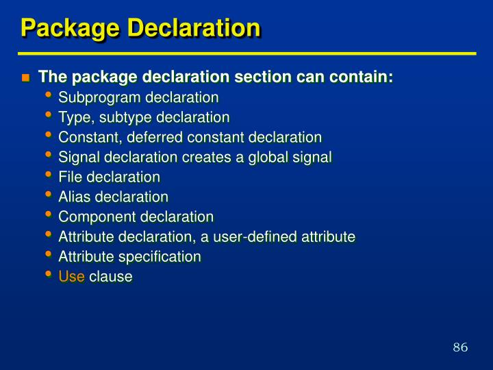 Package Declaration