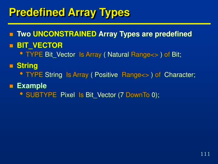 Predefined Array Types