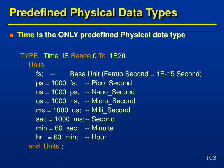 Predefined Physical Data Types