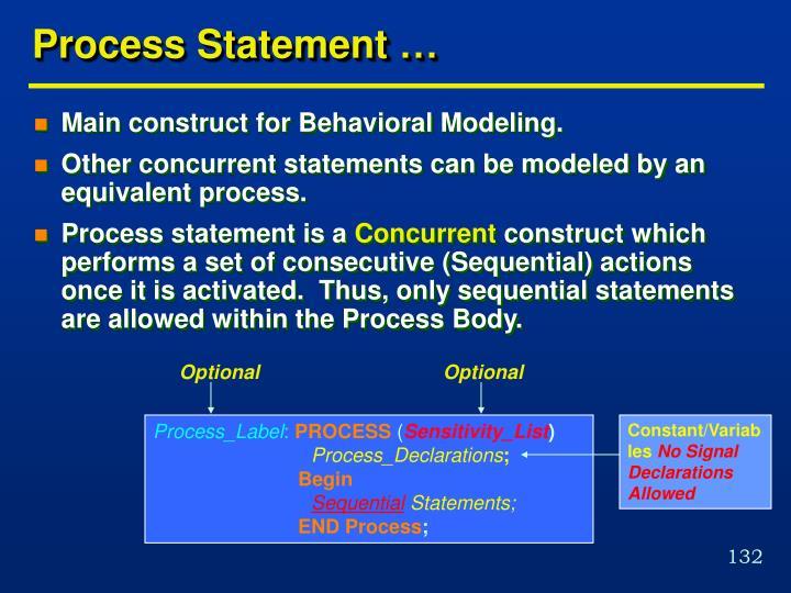 Process Statement …