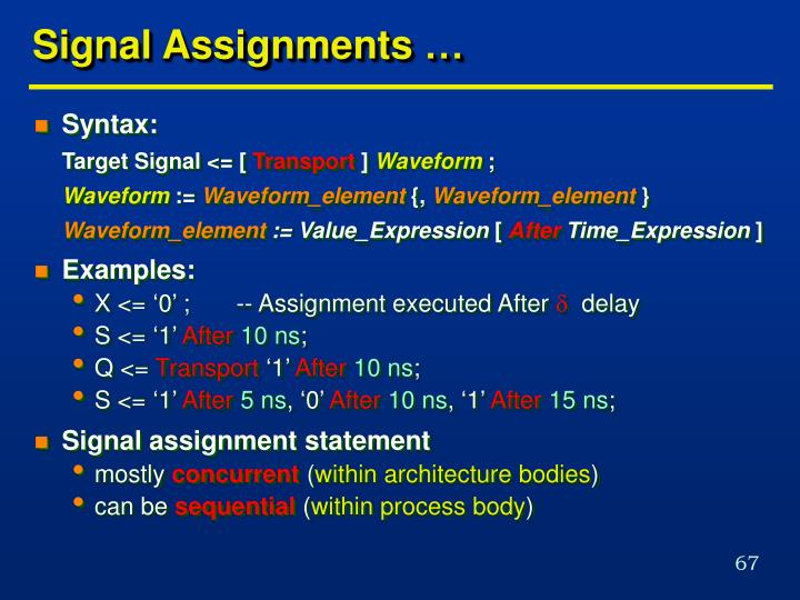 Signal Assignments …