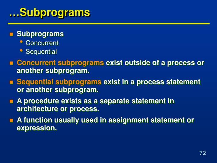 …Subprograms