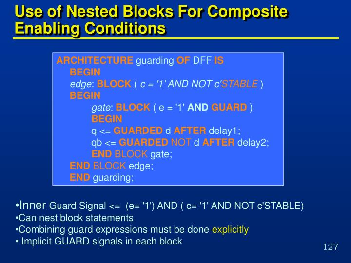 Use of Nested Blocks For Composite Enabling Conditions