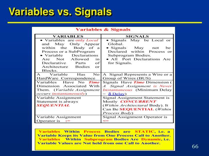 Variables vs. Signals