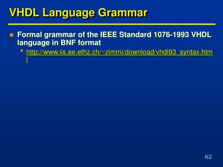 VHDL Language Grammar