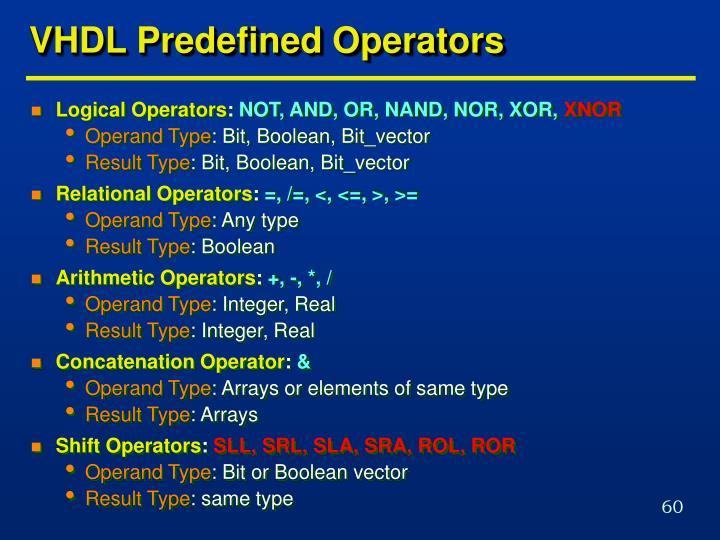 VHDL Predefined Operators