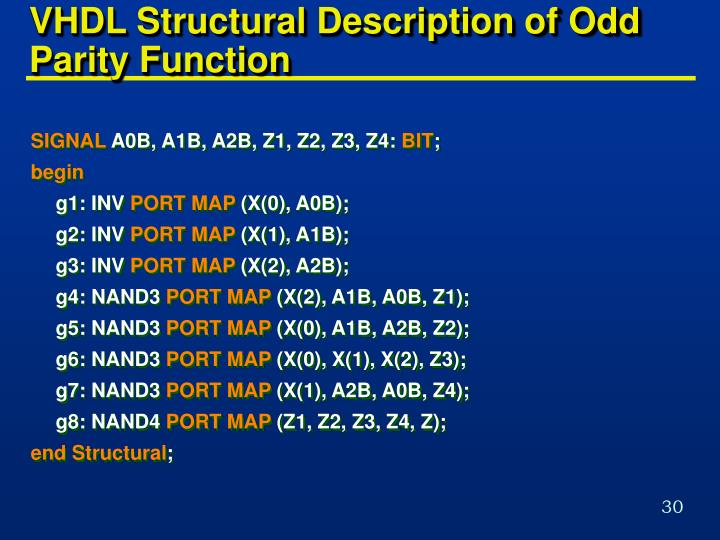 VHDL Structural Description of Odd Parity Function
