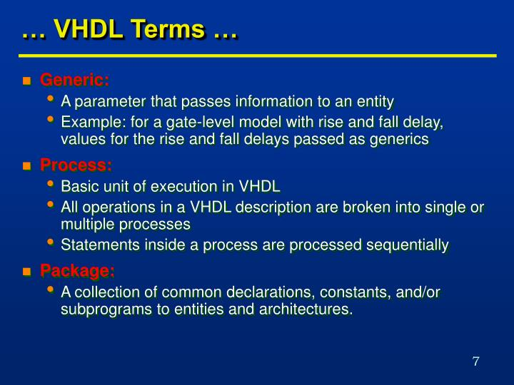 … VHDL Terms …