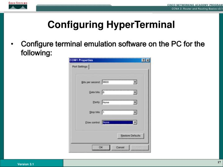 Configuring HyperTerminal