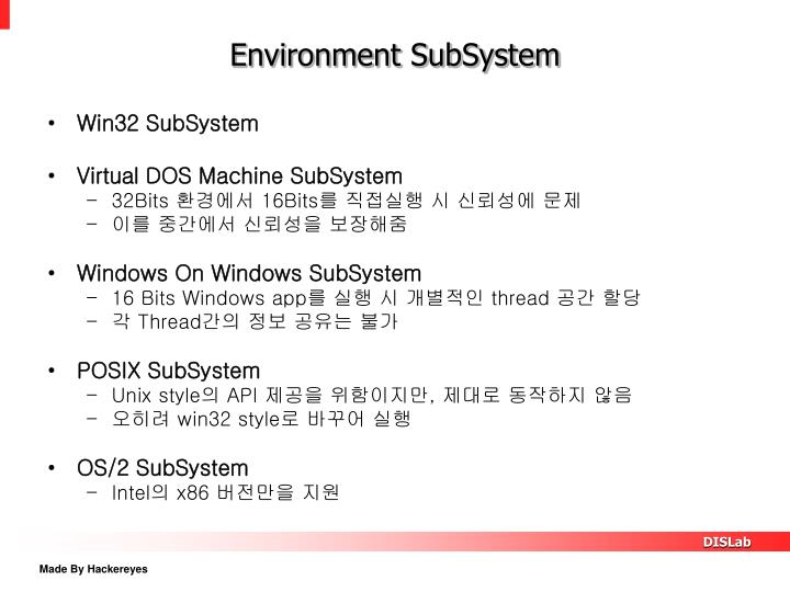 Environment SubSystem