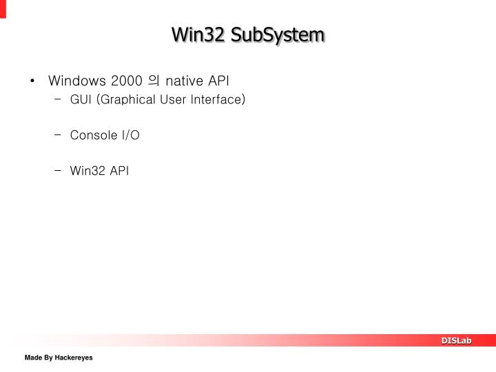 Win32 SubSystem