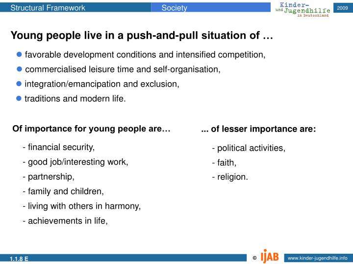 Young people live in a push-and-pull situation of …