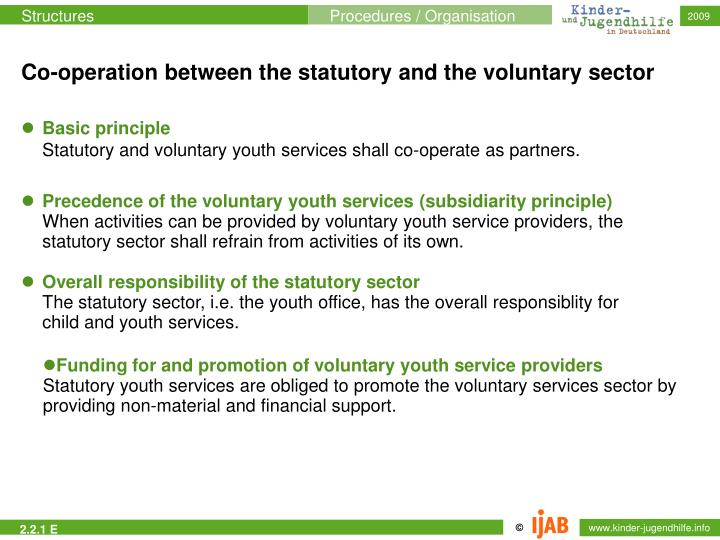 Co-operation between the statutory and the voluntary sector