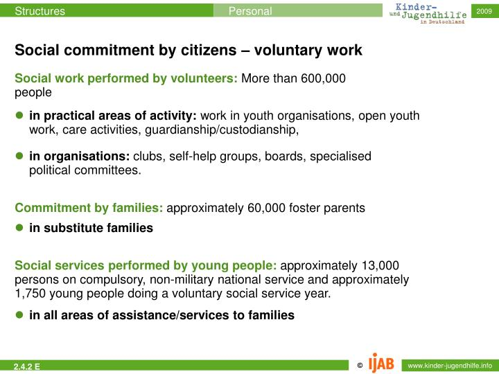 Social commitment by citizens – voluntary work