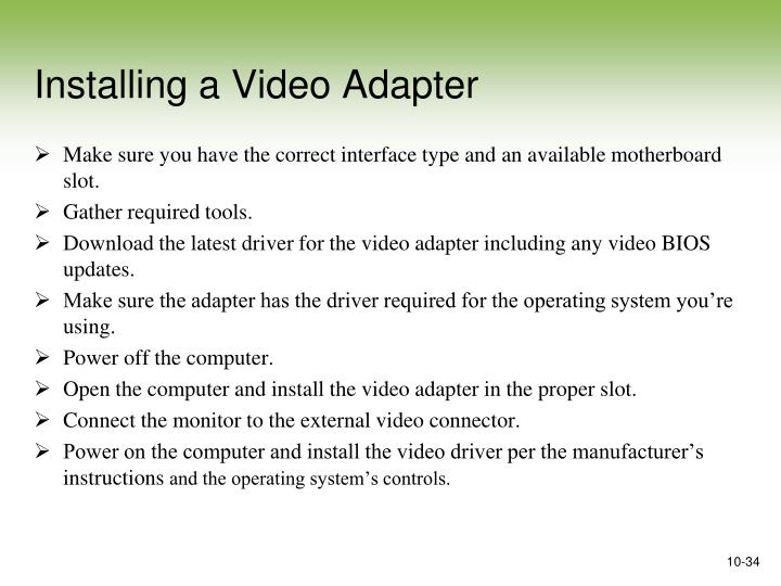 Installing a Video Adapter