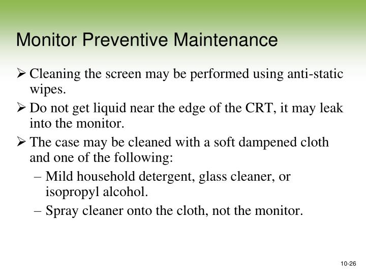 Monitor Preventive Maintenance