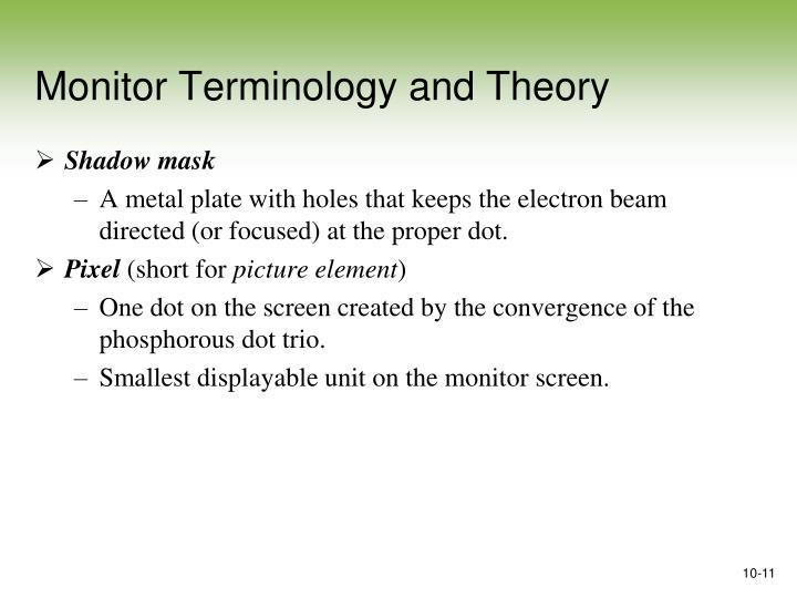 Monitor Terminology and Theory