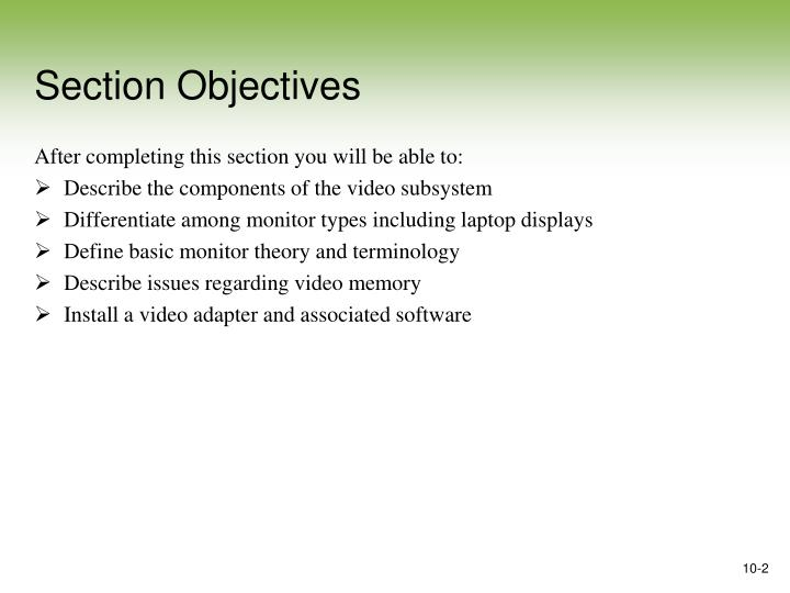 Section objectives