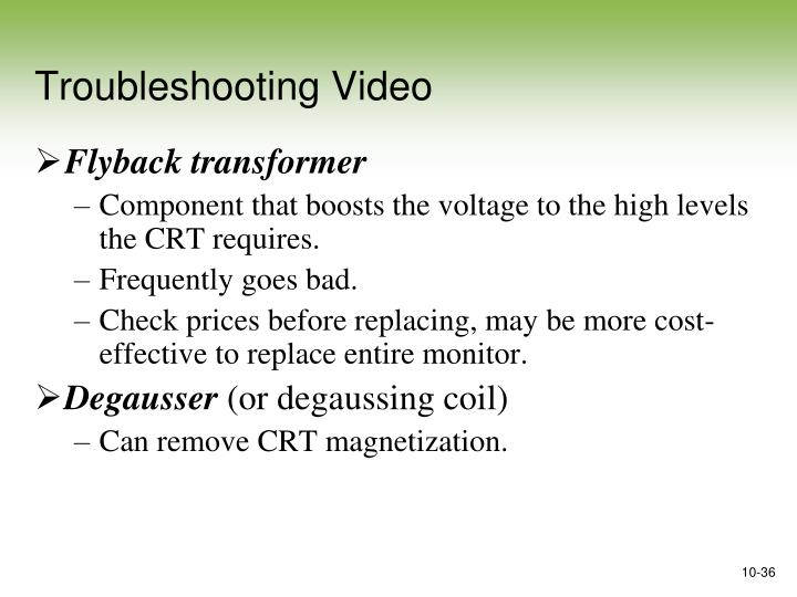 Troubleshooting Video
