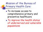 mission of the bureau of primary health care