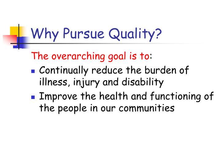 Why Pursue Quality?