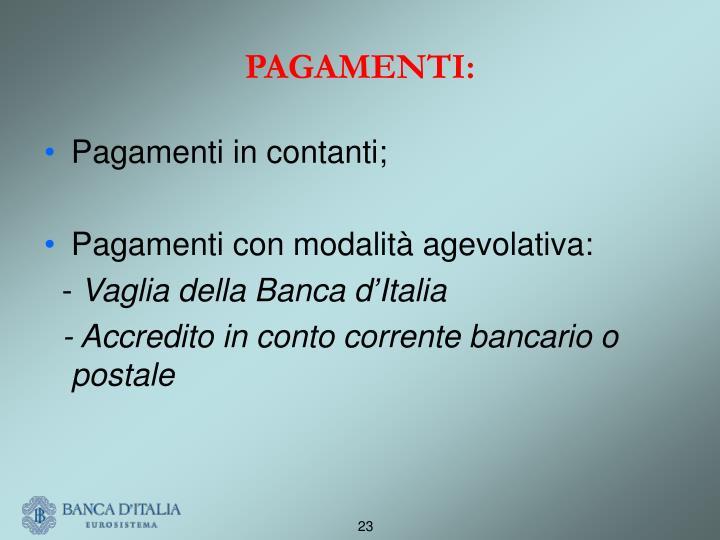PAGAMENTI: