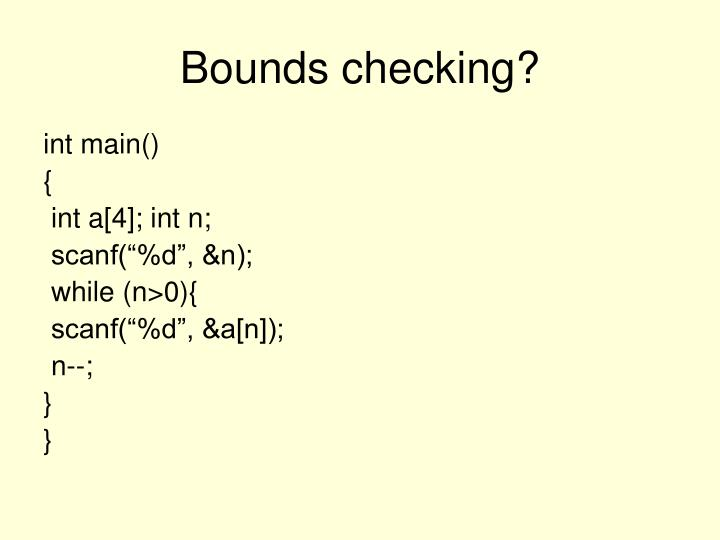 Bounds checking?