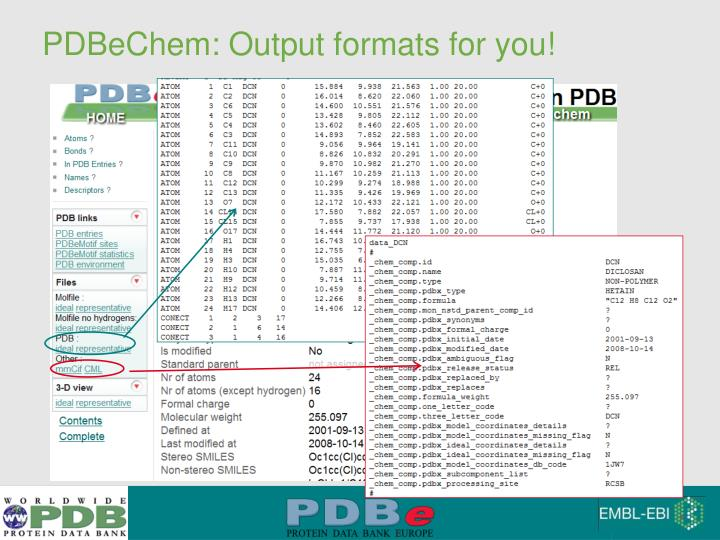 PDBeChem: Output formats for you!