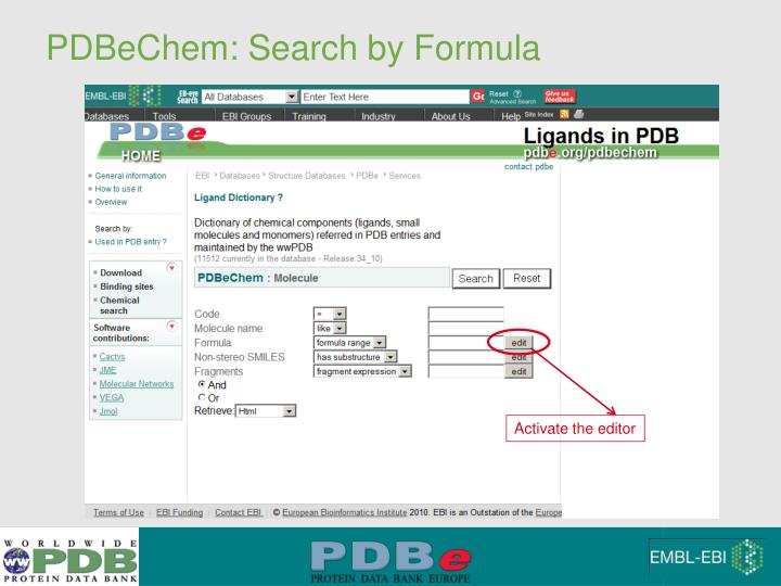 PDBeChem: Search by Formula