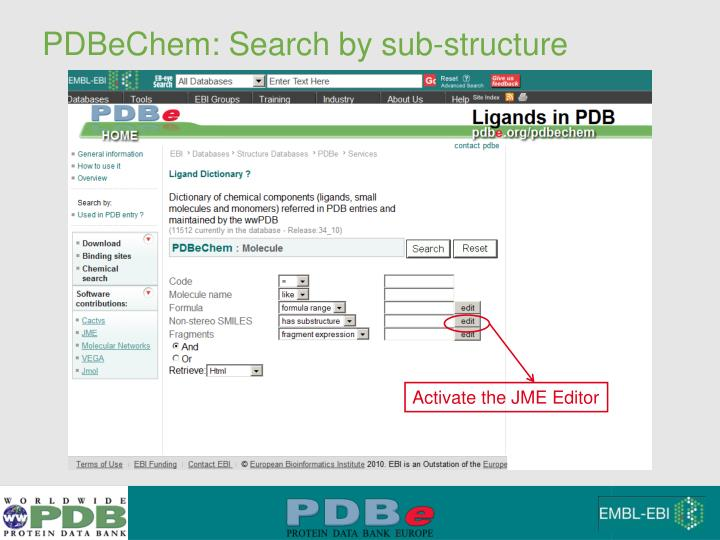 PDBeChem: Search by sub-structure