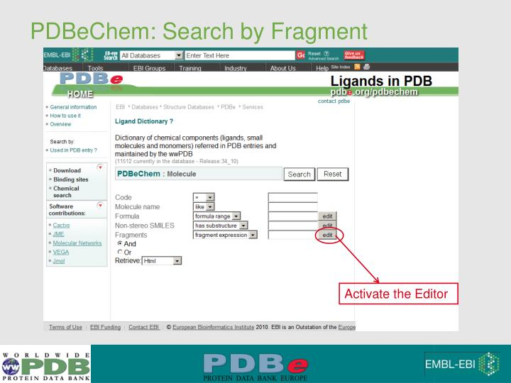 PDBeChem: Search by Fragment
