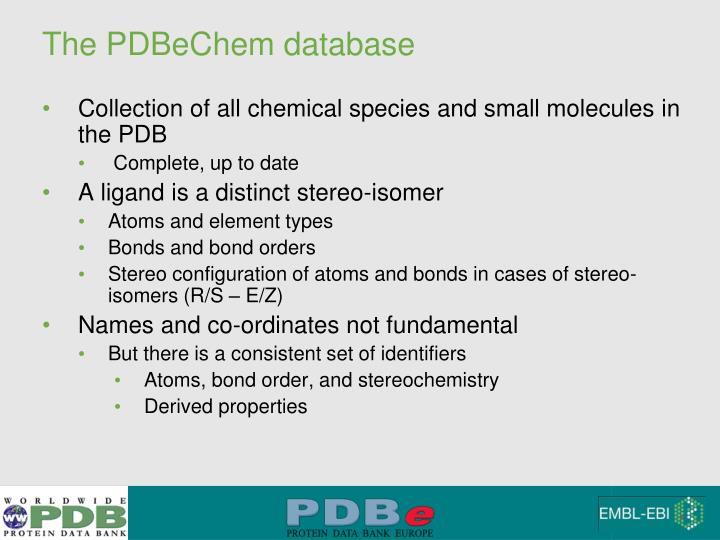 The PDBeChem database