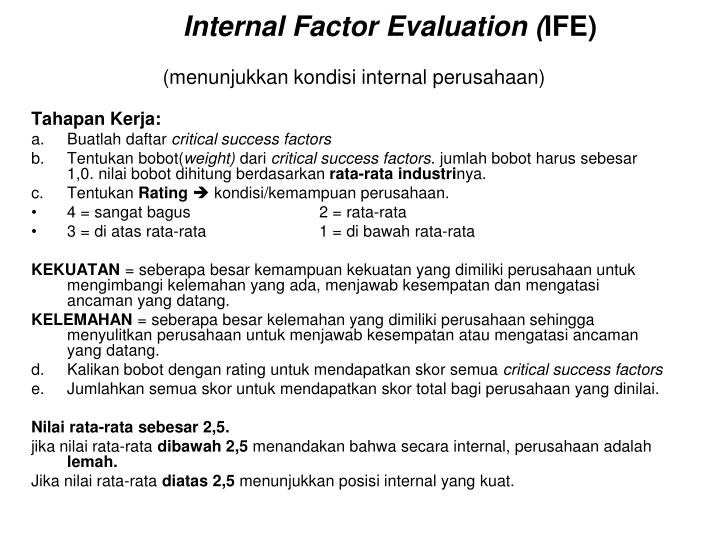 Internal Factor Evaluation (