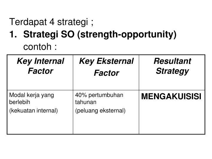 Terdapat 4 strategi ;