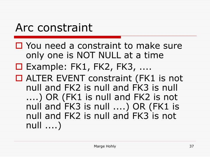 Arc constraint