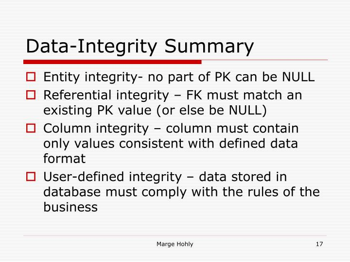Data-Integrity Summary