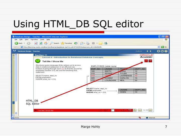 Using HTML_DB SQL editor