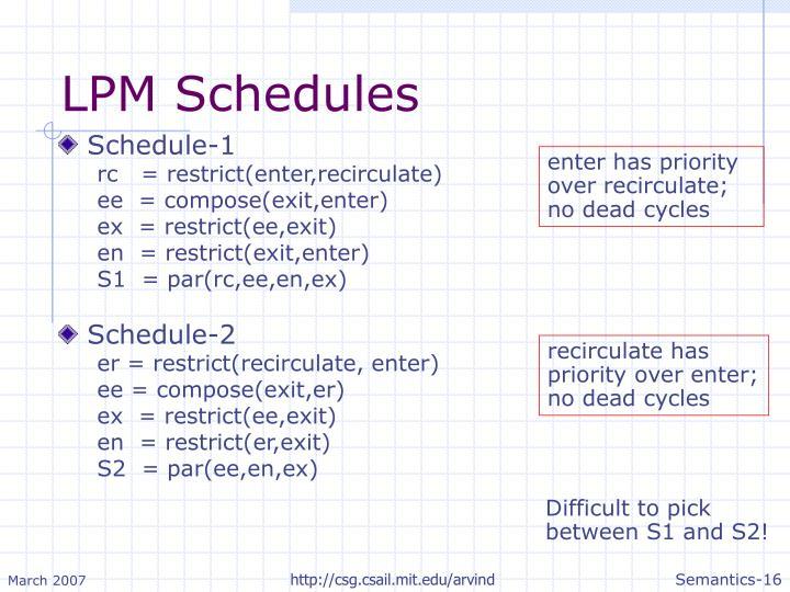 LPM Schedules
