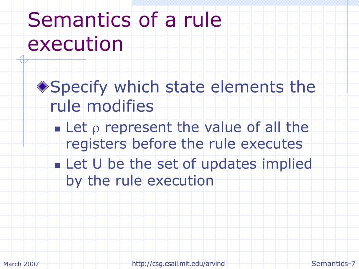 Semantics of a rule execution