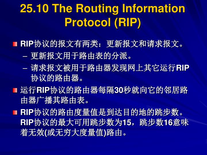 25.10 The Routing Information Protocol (RIP)