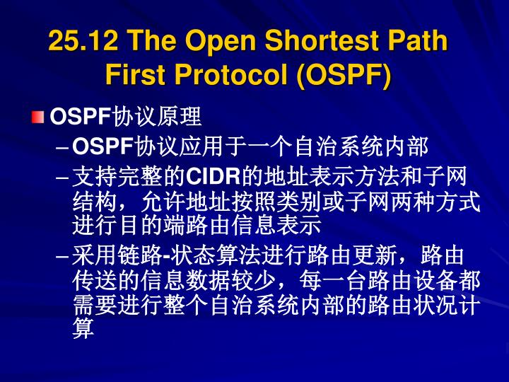 25.12 The Open Shortest Path First Protocol (OSPF)