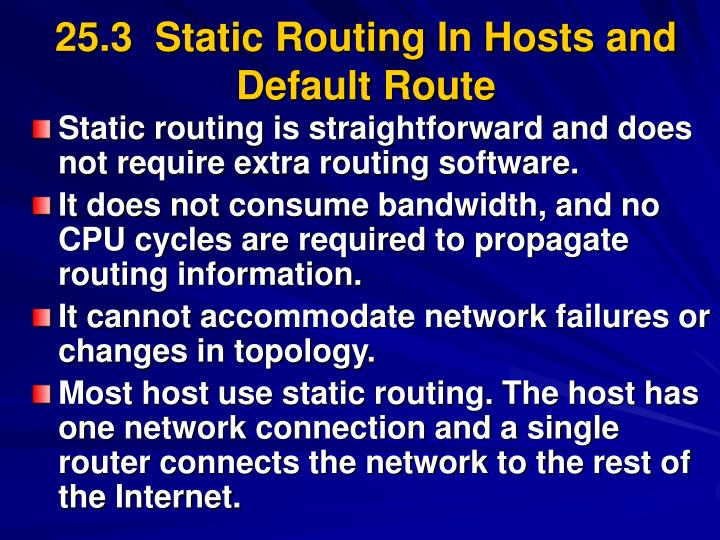 25.3  Static Routing In Hosts and Default Route
