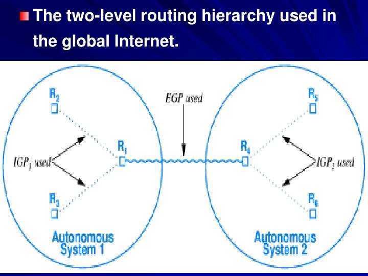 The two-level routing hierarchy used in the global Internet.